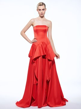 Ericdress A-Line Strapless Ruffles Floor-Length Evening Dress
