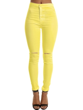 Ericdress Solid Color Ripped Pants