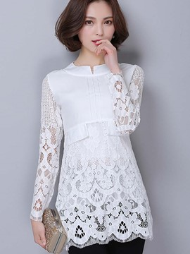 Ericdress Lace Crochet Petal Trim Blouse