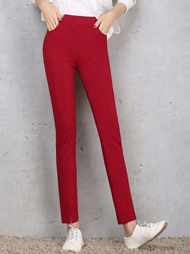 Ericdress Solid Color Split Leggings Pants