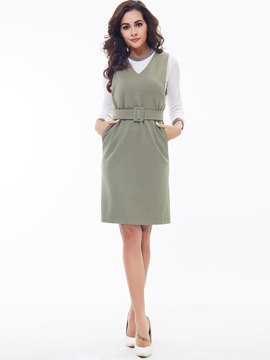 Ericdress Fashion V-Neck Dress Suit
