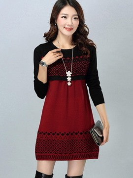 Ericdress Slim Color Block Hollow Knitwear