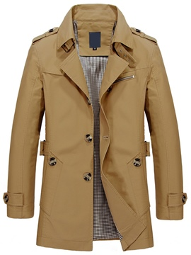 Ericdress Lapel Single-Breasted Solid Color Vogue Men's Trench Coat