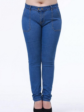 Ericdress Plus Size Solid Color Simple Jeans