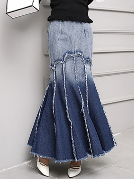 Ericdress Unique Gradient Mermaid Denim Skirt
