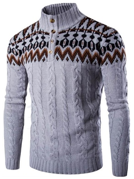 Ericdress Vogue Jacquard High Collar Slim Men's Sweater