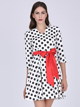 Ericdress Polka Dots Lace-Up Casual Dress