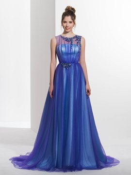 Ericdress A-Line Jewel Neck Beading Pleats Court Train Prom Dress