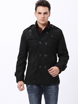 Ericdress Solid Color Mandarin Collar Double-Breasted Men's Coat