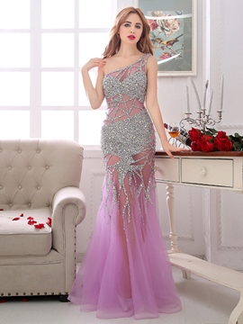 Ericdress Sheath One-Shoulder Beading Crystal Floor-Length Evening Dress