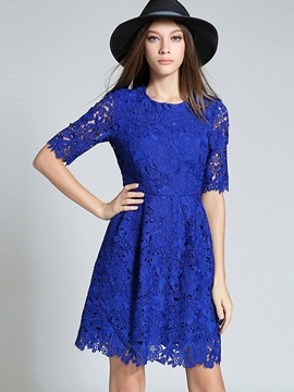 Ericdress Solid Color Short Sleeve Lace Dress