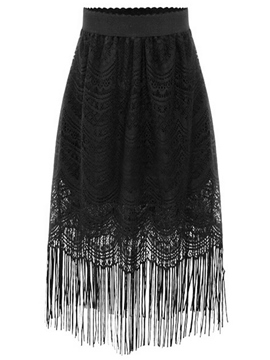 Ericdress Ladylike Lace Tassel Skirt