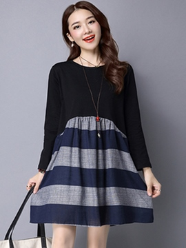 Ericdress Color Block Patchwork Long Sleeve A-Line Casual Dress