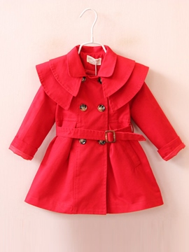 Ericdress Layers Collar Double-Breasted Belt Girls Outerwear