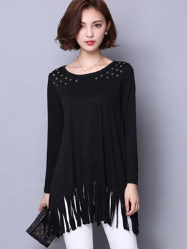 Ericdress Black Tassel Plus SizeT-Shirt