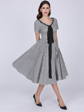 Ericdress Lace-Up Patchwork Plaid Pleated Short Sleeve Maxi Dress