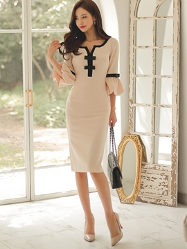 Ericdress V-Neck Patchwork Bowknot Women's Sheath Dress