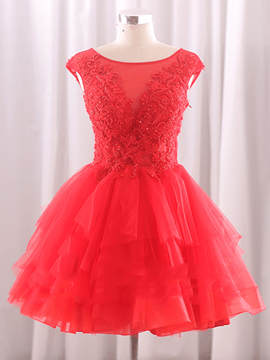 Ericdress A-Line Scoop Cap Sleeves Appliques Beading Short Homecoming Dress