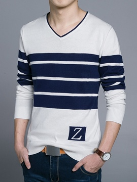 Ericdress V-Neck Stripe Vogue Men's Sweater