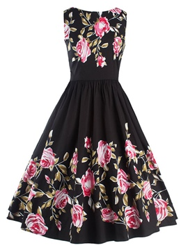 Ericdress Floral Mid-WaistExpansion A Line Dress