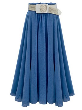 Ericdress Solid Color Belt Skirt