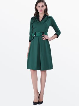 Ericdress Plain Pleated Belt Three-Quarter Sleeve Casual Dress