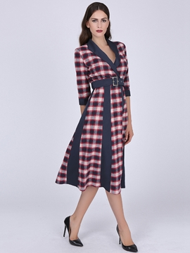 Ericdress Plaid Belt Patchwork Half Sleeve Casual Dress