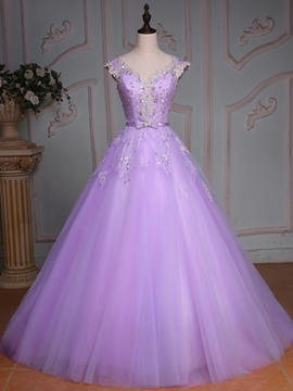 Ericdress V-Neck Cap Sleeves Lace Sequins Quinceanera Dress With Beadings