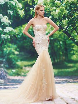 Ericdress Fancy Sweetheart Appliques Beaded Mermaid Color Wedding Dress
