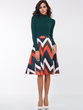 Ericdress Fashion Geometric Pattern A-Line Skirt Suit