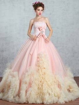 Robe de bal sans bretelles Ericdress applications perles Bowknot parole longueur robe de Quinceanera