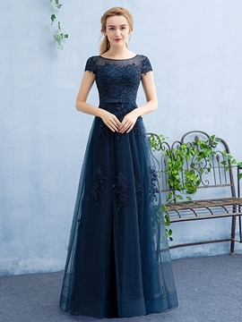 Ericdress Cap Sleeves A-Line Scoop Appliques Beading Evening Dress