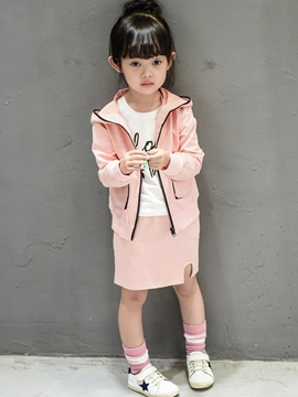 Ericdress Ears Hooded Zipper Burrs Straight Two-Piece Girls Outfit
