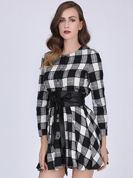 Ericdress Plaid Round Neck Single-Breasted Casual Dress