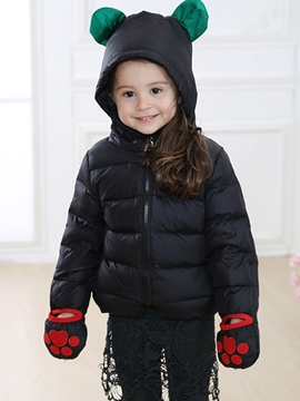 Ericdress Gloves Patch Cartoon Ears Hooded Girls Down Jacket