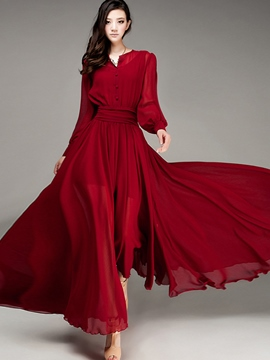 Ericdress Lantern Sleeve Expansion Maxi Dress