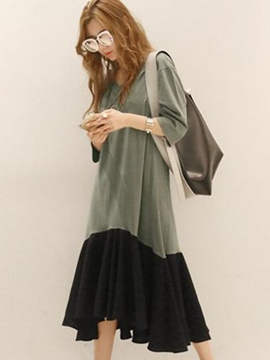 Ericdress Color Block asymétrique col en v Maxi robe