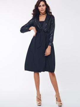 Ericdress Black A Line Lace Up Trench Coat