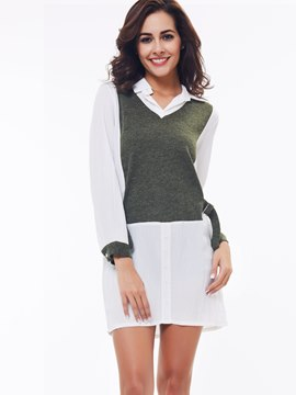 Ericdress Color Block Long Blouse