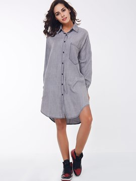 Ericdress Lapel Loose Long Sleeve Casual Dress