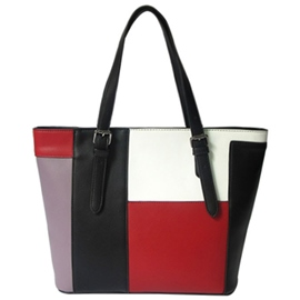 Ericdress Color Block PU Tote Bag