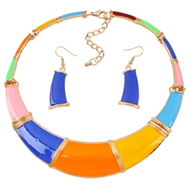 Ericdress Colorful Geometry Oil Drip Jewelry Set