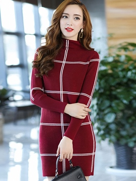 Ericdress Plaid Stand Collar Straight Sweater Dress