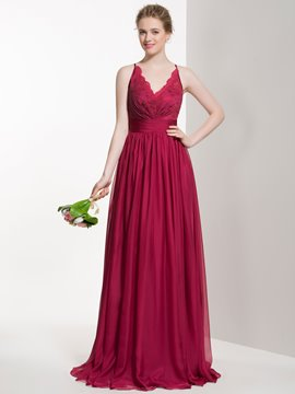Ericdress Charming V Neck Lace Long Bridesmaid Dress