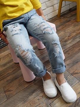 Ericdress Hole Frayed Destroy Denim Boys&Girls Bottom