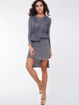Ericdress Asymmetrical Unique Knitwear Dress Suit