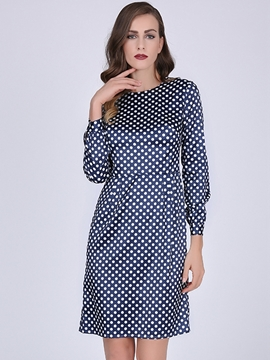 Ericdress Western Polka Dots Long Sleeves A Line Dress