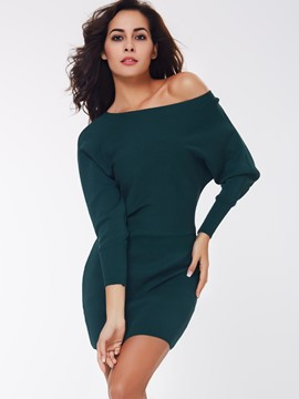 Ericdress Long Sleeve Slash Neck Solid Color Bodycon Dress