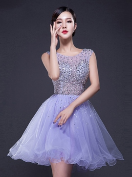 Ericdress a-line encolure ronde Cap manches Perles cristal Mini Homecoming robe
