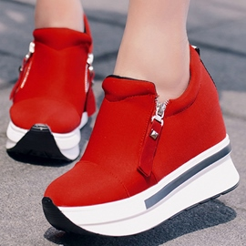 Ericdress Zipper Round Toe Platform Plain Women's Sneakers